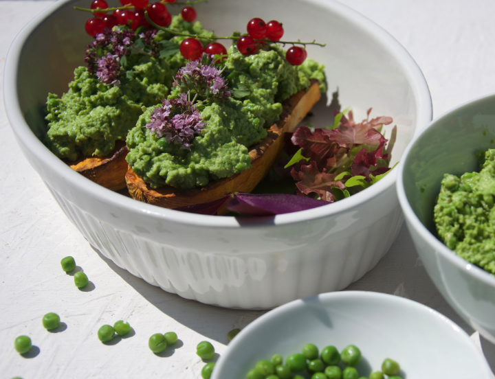 Sweet Potato with Pea Humus