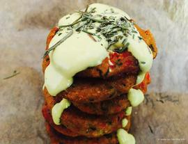 Veggie Burger with Cheesy Cashew Sauce